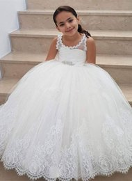Images Applique Shirts Girl Australia - Flower Girls Dress For Weddings Lace Appliques Tulle Floor Length Backless First Communion Dresses