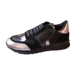 pink shoes studs 2019 - high quality fashion men luxury designer shoes genuine leather stud sneakers shoes casual women men designer shoes with
