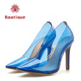 2019 NEW LZF Women 11cm High Heels Scarpins Female Prom Wedding Transparent  Shoes Lady Valentine Heels Tacones Fetish Blue PVC Pumps 1dfaf20e1116