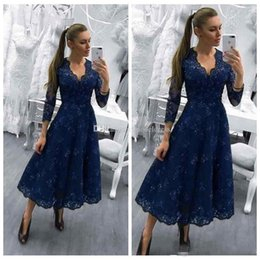 $enCountryForm.capitalKeyWord Australia - 2018 Modest Tea Length Prom Dress 3 4 Long Sleeves V Neck A Line Sequin Lace Evening Party Pageant Gowns Vestidos Cheap Customized