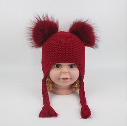 Discount thanksgiving beanie babies - 6 Colors Children Cute Winter Hats Two Faux Raccoon Fur Pompom Hat Baby Knitted Cap Warm Ears Earflap Thick Kids Beanies