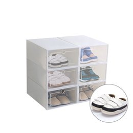 transparent plastic shoe boxes NZ - 6pcs set Plastic Drawer Type Shoe Box Thickened Transparent Foldable Shoe Storage Box Save Space Rack Cabinet Shoe Organizers