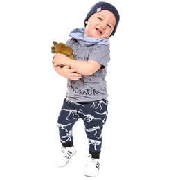 Cute zebra print online shopping - Fashion cute kids baby dinosaur letter suit outfit short sleeve pants set boys clothes print sport children clothing