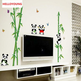 $enCountryForm.capitalKeyWord Australia - DIY Wall Sticker Cute Cartoon Panda Bamboo Wallpapers Mural Waterproof Bedroom Wall Stickers Home Decor Backdrop