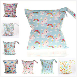 Fabric Bag Owl Australia - Baby Wet Dry Diaper Bag Unicorn Owl Animal Infant Travel Nappy Organizer Double Zipper Waterproof Tote Bag with Soft Snap Handle