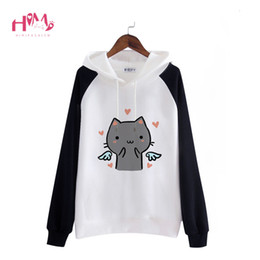 cat collar cute Australia - Harajuku Kawaii Fleece Hoodies Women Sweatshirts Black Pink Heart Cute Angel Cat Winter Lovely Anime Halloween Devil Pullover SH190913