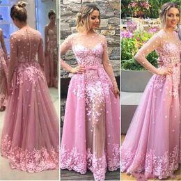 Hand Made Art NZ - luxury Designer Pink Overskirt Evening Prom Dresses With Hand Made Flowers Special Occasion Long Sleeve Vestidos de fiesta largos Sexy Dress
