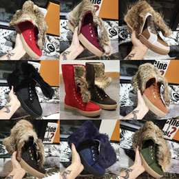China Women Winter Booties Real Rabbit Fur Snow Boots Designer Shoes Real Leather Australia Classic Kneel Flat Boots with BOX US11 suppliers