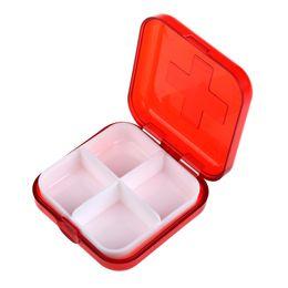 travel medicine 2019 - Outdoor Toiletry Tools Portable Cases 4 Cells Medicine Organizer Travel Pocket Container Separable Box Mini discount tra