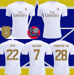 blue real madrid s soccer jersey NZ - HAZARD soccer jerseys real Madrid 19 20 JOVIC MILITAO camiseta de fútbol 2019 2020 VINICIUS ASENSIO football shirt kids camisa de futebol