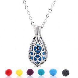 Necklaces Pendants Australia - Teardrop essential oil diffuser Pendants necklace aromatherapy jewelry diffuser jewelry aromatherapy necklaces metal volcanic stone perfume