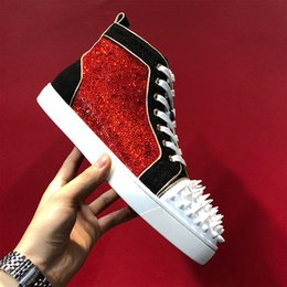 Spiked SoleS online shopping - Original Box Best Luxury Fashion Red Bottom Sneakers With Spikes Studs Strass Glitter Men Designer High Top Red Sole Casual Shoes