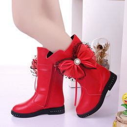 Boys long Boots online shopping - Princess Fashion bead Bow Fringe Winter Boots Kids Long Boots For Big Girls Snow Children Shoes Years