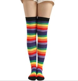 basketball sexy girl NZ - festival christmas Sexy Women lady long tube stripe Socks rainbow Thigh High stockings Cotton Over Knee Socks Student girls Hiphop sock