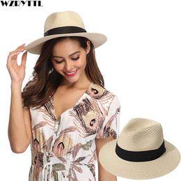 12605dd799ac4e Women Ribbon Wide Brim Panama Straw Hat Fedora Beach Sun Hat UPF50 Sun  Floppy Summer Boater Lady Kentucky Derby Vocation