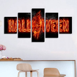 $enCountryForm.capitalKeyWord Australia - 5pcs set Unframed Halloween Word and The Skull Fire HD Print On Canvas Wall Art Painting For Living Room Decor