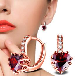 $enCountryForm.capitalKeyWord Australia - Rose Gold Rhinestone Crystal Heart-shaped Stud Earrings for Wedding Party Women Brincos Jewelry Ear Studs Bijoux Dress Accessory