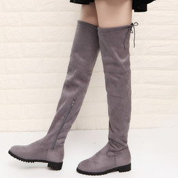 cbac75b48a8 Sexy flat thigh high bootS online shopping - 2018 Boots Sexy Over The Knee  High Suede