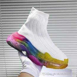 $enCountryForm.capitalKeyWord Australia - 2019 Women & Men Oversized Sock Sneakers with Transparent Rainbow Color Sole, Causal Unisex Runners Sock Boots