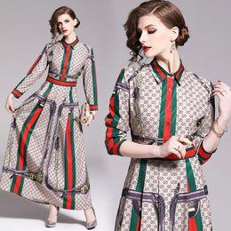 2019 Frauen Klassische Brief Drucken Gefaltetes Hemd Maxi Kleider Luxus Damen Casual Revers Hals Langarm Taste A-line Robe Designer Kleider im Angebot
