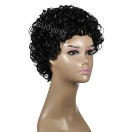 lace wigs wholesale UK - Small curly short synthetic none lace black comfortable twigs cheap price afro wigs for black women