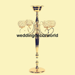 Bowling Party Decorations NZ - Wedding Crystal Candelabra Metal Candle Holder with Flower Bowl Tall Candlestick Decoration Table Centerpiece Flower Stand Vase decor253
