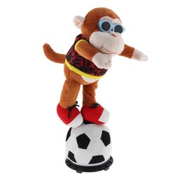 pet figures UK - Interactive Dancing Football Doll Plush Stuffed Animal Electronic Pets Figure Model Toy Home Desk Decor Ornament - Monkey