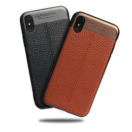 Discount leather stitch iphone case - For Iphone Xr Xs Max 6 7 8 X Plus Lychee Texture Stitching Leather Phone Case Two In One Hard Cell Phone Case