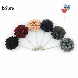 Men Suit Pins NZ - (Buy One Send One Free) BoYuTe Retail Piece Hand Made Fabric Flower Lapel Pin Fashion Men Brooches and Pins for Suits