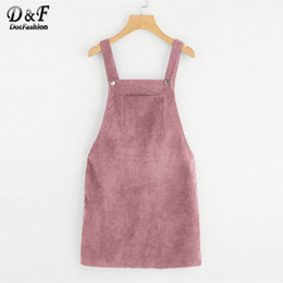 Pinafore Dresses Australia - Dotfashion Bib Pocket Front Overall Short Dress 2019 Pink Zip Button Pinafore Shift Dress Female Sleeveless Plain Dress Y19053001