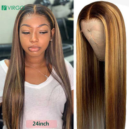 long blond human hair wigs NZ - Virgo 13*4 Straight Lace Front Human Hair Wigs Pre Plucked With Baby Hair Ombre Honey Blond Highlights Remy Lace Front Wigs Remy