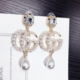 Turquoise chandelier earrings online shopping - Pearl Long Tassel New Brand Designer Stud Earrings Letters Ear Stud Earring Jewelry Accessories for Women Wedding Gift