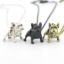 $enCountryForm.capitalKeyWord NZ - New Fashion Cute French Bulldog Dog Charms Pendant Necklaces Long Chain Animals Pet Vintage Silve Jewelry Necklaces For Women