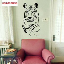 diy country home decor Australia - DIY Home Decor Removable Creative Tiger Wall Stickers For Living Rooms Waterproof Wallpapers Mural All match style