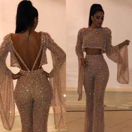 White formal suits online shopping - Hot Sell Sequin Two Pieces Prom Dresses Sheath Long Sleeves Plus Size Formal Dresses Party Evening Gowns Custom Made Pants Suits BC0240