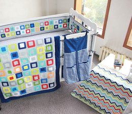 Baby Quilt Embroidery Australia - Baby Organizer 9Pcs Crib bedding set Embroidery Colorful Tetris Cot bumper set for baby boy Crib Quilt Cover Bumper Skirt