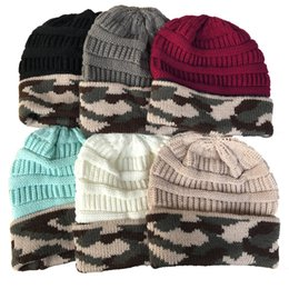 crochet hat sizing Australia - Women Designer Knit Beanie Hat Winter Warm Crochet Hats Camouflage Print Knitted Cuff Beanie Trendy Chunky Stretchy Knit Ski Cap 2019 C92404