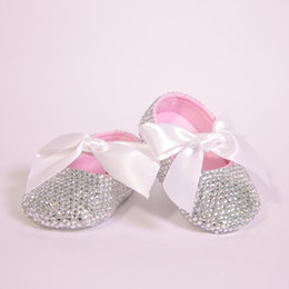 girls ribbon shoe laces Australia - All Covered Clear Sparkle Bling out White Ribbon Bow Custom Handmade Christening 0-1 Princess Newborn Baby Girl Ballerina Shoes