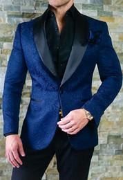 $enCountryForm.capitalKeyWord Australia - 2019 men's blazer new men's wedding dress custom slim fit suit blue pattern shawl lapel suit 2 pieces (coat + pants)