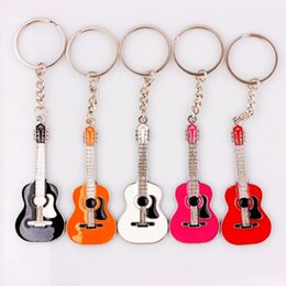 Discount key guitars - QianBei 2018 New Classic Guitar Silver Pendant Keychain Alloy Car Key Ring Musical Men Women Charms Gifts Jewelry Bulk 1