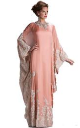 Discount chiffon empire ankle length dresses - 2019 New lace evening dress Prom Dresses with long sleeves dubai decals kaftan dress fashion dubai Arab clothing Party D