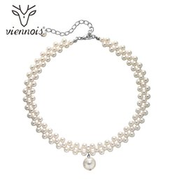 $enCountryForm.capitalKeyWord UK - iennois Simulated Pearl Necklaces Rhinestone Round Pendant Trendy Jewelry 2019 Viennois Simulated-Pearl Choker Necklaces Rhinestone Rou...