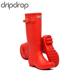 yellow rubber rain boots Australia - DRIPDROP Natural Rubber Original Tall Rain Boots for Women High-Knee Fashion Boots Adjustable Buckle 4 Seasons
