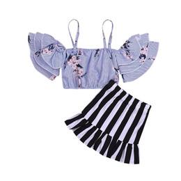 $enCountryForm.capitalKeyWord Australia - Fashion Outfits Flower Children Girls Clothing Set Summer Toddler Kids Baby Girl Strap Blouse Tops+Short Skirt 2PCS
