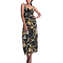 chains for dresses Australia - Dress For Women summer dress Womens Beach Chain Print V Neck Sleeveless Long Maxi Ladies Party Sundress vestidos