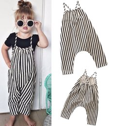 $enCountryForm.capitalKeyWord NZ - toddle baby girls boys overalls Rompers sleeveless summer kids Jumpsuit Black White stripe one-piece pants infant clothes mix dropship