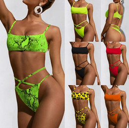 Green dot bikini online shopping - Women Two Piece Swimsuit Leopard Print Strapless Band Multi Colors Sexy Beach Style New Summer Bathing Suits