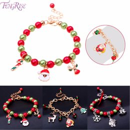 bracelets linens Australia - FENGRISE Christmas Bracelets Santa Claus Pendant Christmas Gift Xmas Party Gifts Decorations for Home Navidad 2019