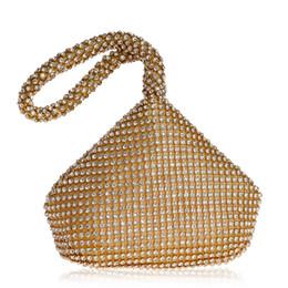 Bridal european handBags online shopping - Dgrain Diamond Women Silver Beaded Clutch Evening Handbags and Purses Silver Crystal Bridal Small Wedding Minaudiere Bags Box Evening Bags