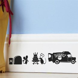 Stickers Mouse NZ - Creative Mouse Hole Decorative Wall Stickers Decals For Kitchen Room Decorations Cute Animals Mural Art Vinyl Sticker Kids Gifts